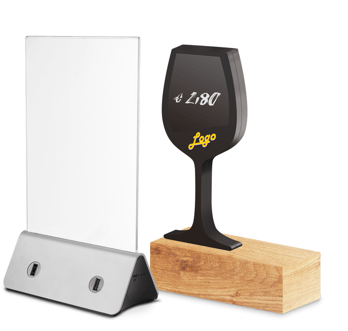 Menukartenhalter Menu Card Holder Powerbank Battery Batterie Aufladen loading charge Charging Station USB