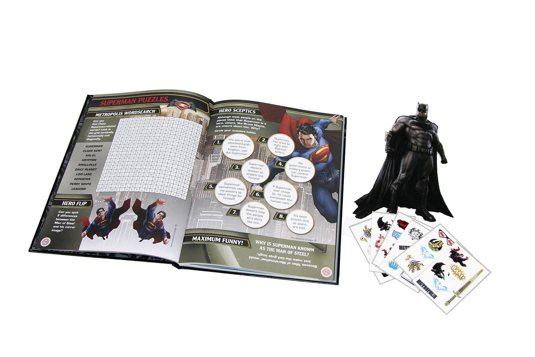 Starlite Children Book - Batman v Superman Sticker Collection Sammeln Trivia Book Buch Trivial Wissen Knowledge 2 On-Pack Co-Pack Druck Print Verpackung Schachtel Karton Packaging Box Starlite Veredelung Finish UV-Lack Colour 4c