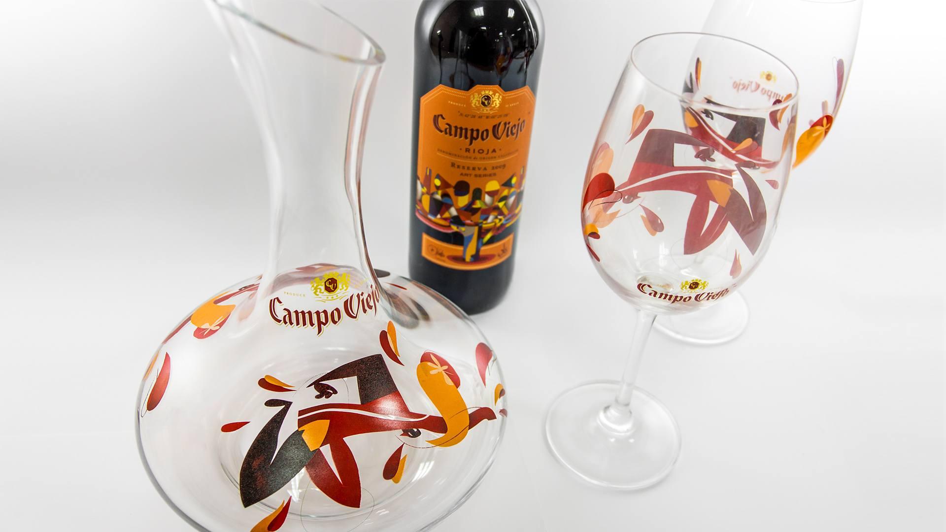 Campo Viejo Weinkaraffe Set Wine Decanter Karaffe Wein Glas wineglass printed bedruckt