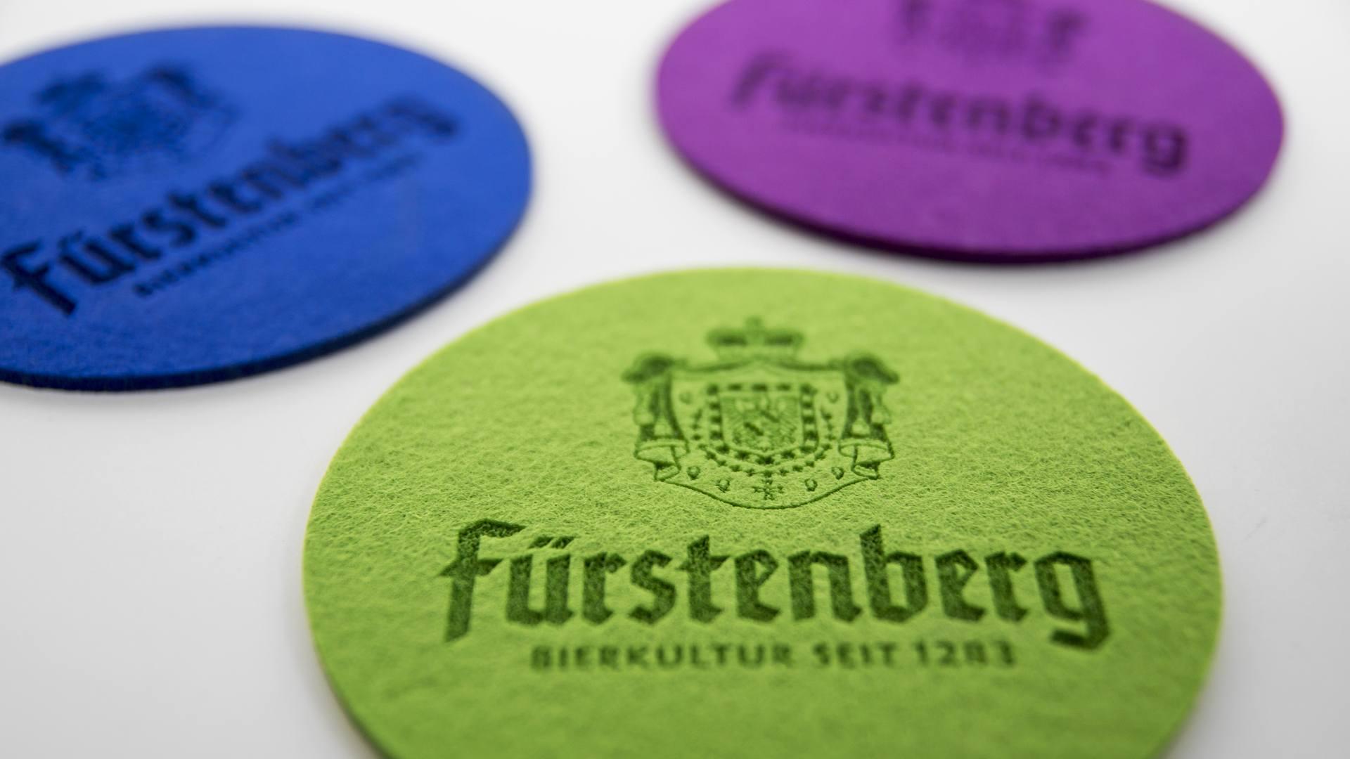 Fürstenberg Filz Untersetzer Coaster Felt Bier Beer Eco friendly Umweltfreundlich Laser Logo